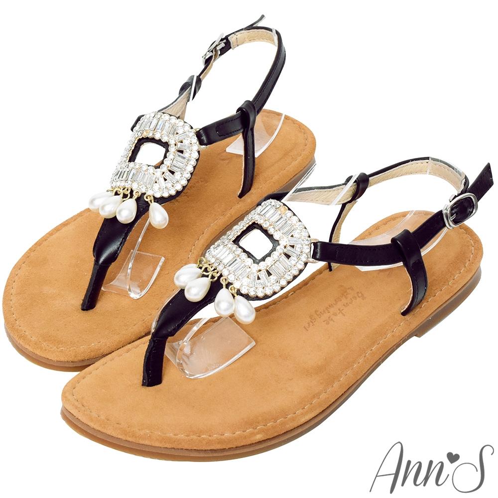 Ann'S水洗牛皮-浪漫威尼斯珍珠大方鑽圓頭涼鞋-黑