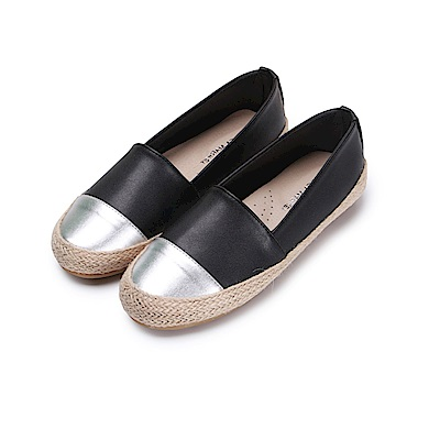 BuyGlasses 金屬拼接草編麻繩懶人鞋-黑
