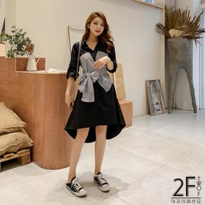 2F韓衣-假兩件條紋拼接式洋裝