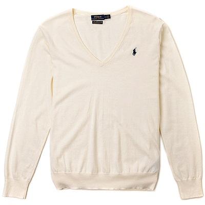 Polo Rlaph Lauren 經典刺繡小馬V領針織棉質毛衣(女)-米白色
