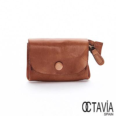 OCTAVIA8 真皮 - 喜歡你 信封式雙置物袋植染牛皮小錢包 - 仿舊棕