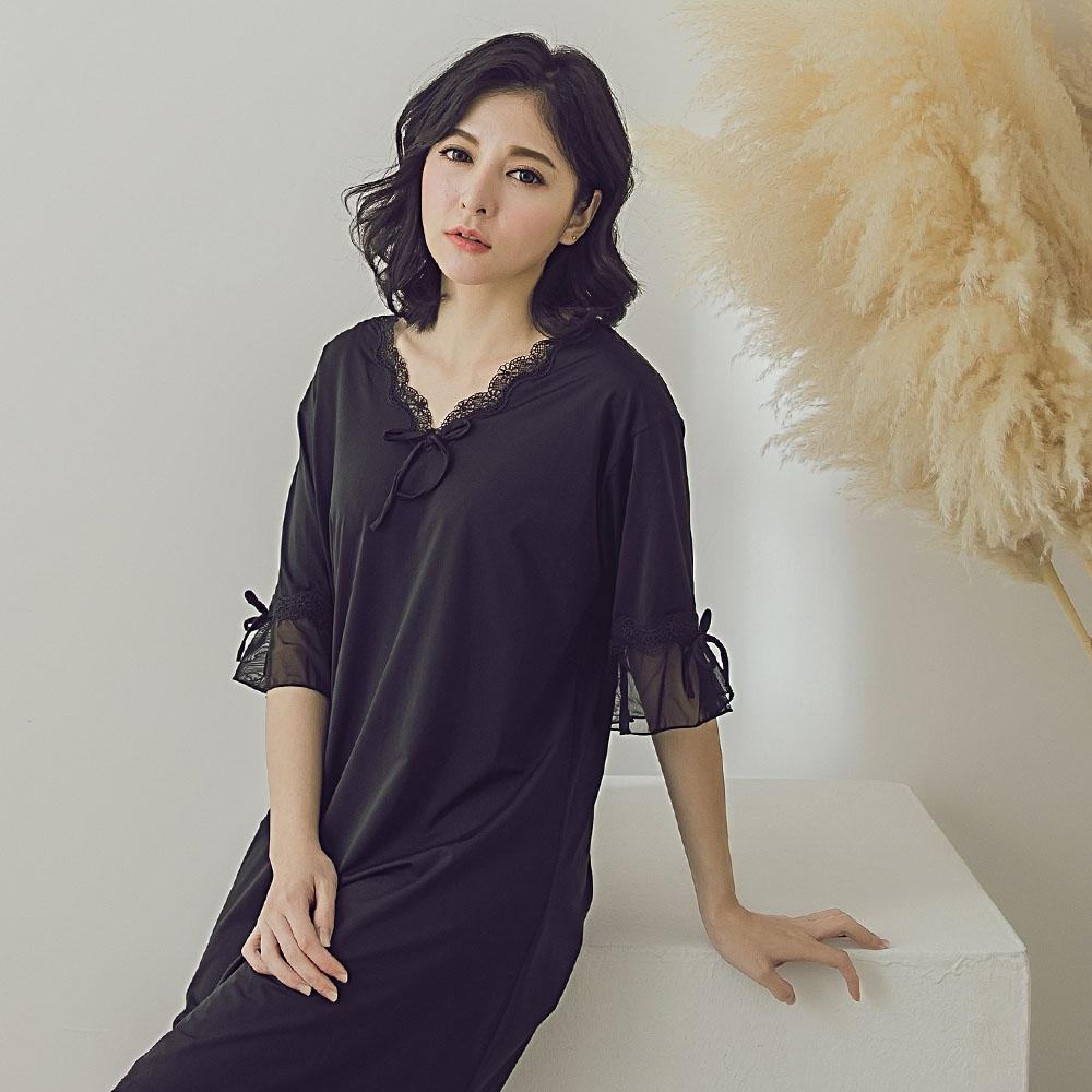 潘朵拉神秘戀人- V領前胸綁帶睡衣 H0277(黑)