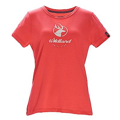 荒野【wildland】女彈性印花經典抗UV上衣亮橘色