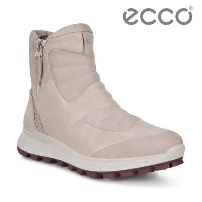 ECCO EXOSTRIKE 時尚拼接戶外保暖短靴 女-灰粉色