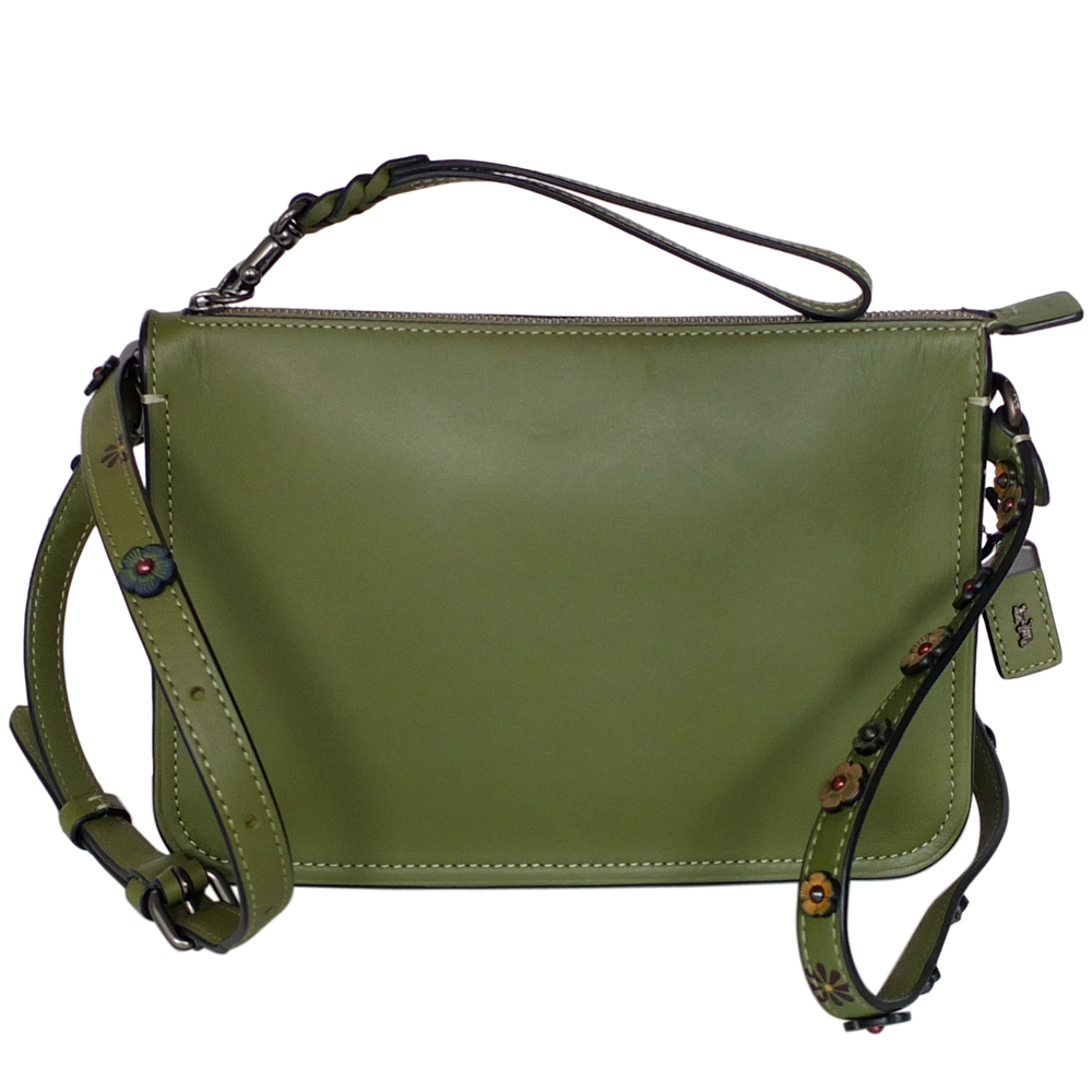 COACH橄欖綠經典棒球手套全皮花朵背帶手掛/斜背小包COACH