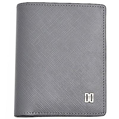 DAKS 防刮皮革經典品牌DD LOGO卡片機能短夾(灰色)
