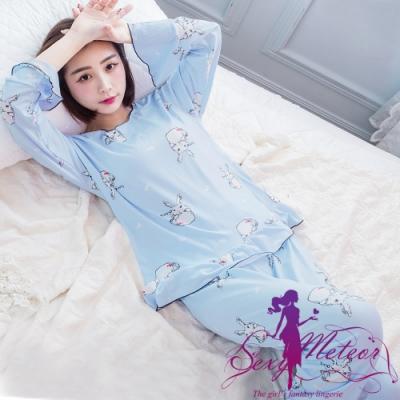 睡衣 全尺碼 兔子愛心牛奶絲長袖二件式睡衣組(清爽淺藍) Sexy Meteor