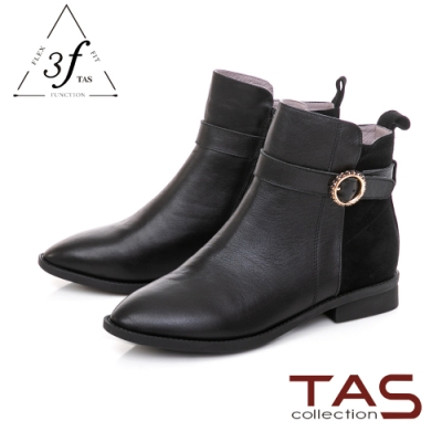 TAS異材質拼接金屬環綁帶短靴-率性黑