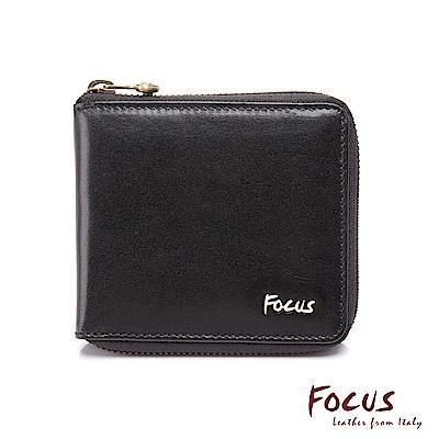 FOCUS原皮時尚黑方正零錢拉鍊包短夾(FGC2636)