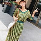 V領條紋針織衫+高腰包臀長裙兩件套 (黃綠色)-Kugi Girl