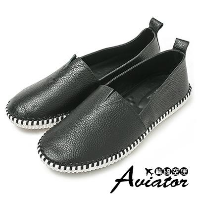 Aviator*韓國空運-Ollie質感柔軟真皮縫線休閒小白鞋-黑
