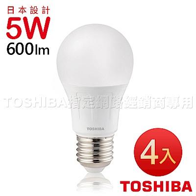 TOSHIBA東芝 第二代 高效球LED泡燈 5W-(白/黃光)-4入經濟組