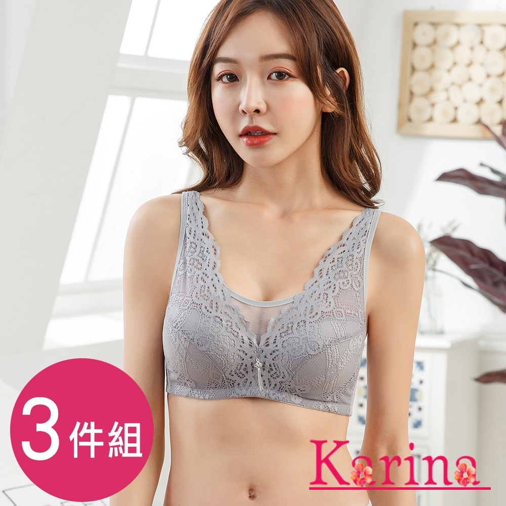 Karina-奢華網紗蕾絲無鋼圈內衣(3件)