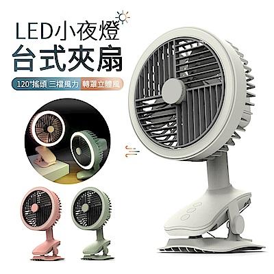 ANTIAN USB充電式擺頭迷你風扇 LED小夜燈夾扇 桌面辦公電風扇 三檔風力 小風扇