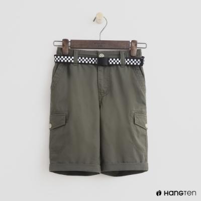Hang Ten -童裝 - 帥氣口袋附腰帶短褲 - 綠