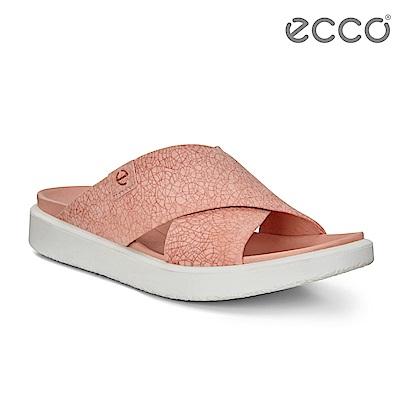 ECCO FLOWT LX W 輕柔交叉寬帶涼拖鞋 骨瓷皮革 女-粉紅