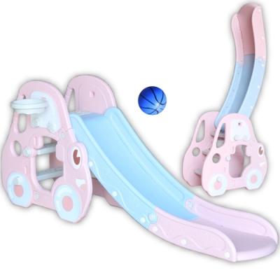 可愛汽車造型音樂溜滑梯(兒童室內遊戲滑梯) - 粉紅