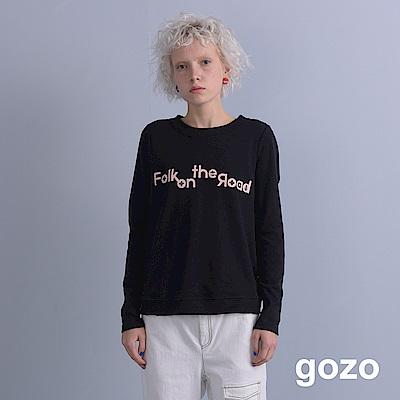 gozo 簡約造型文字印花上衣(黑色)