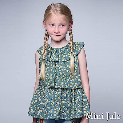 Mini Jule 童裝-上衣 滿版小花荷葉領後綁帶上衣(綠)