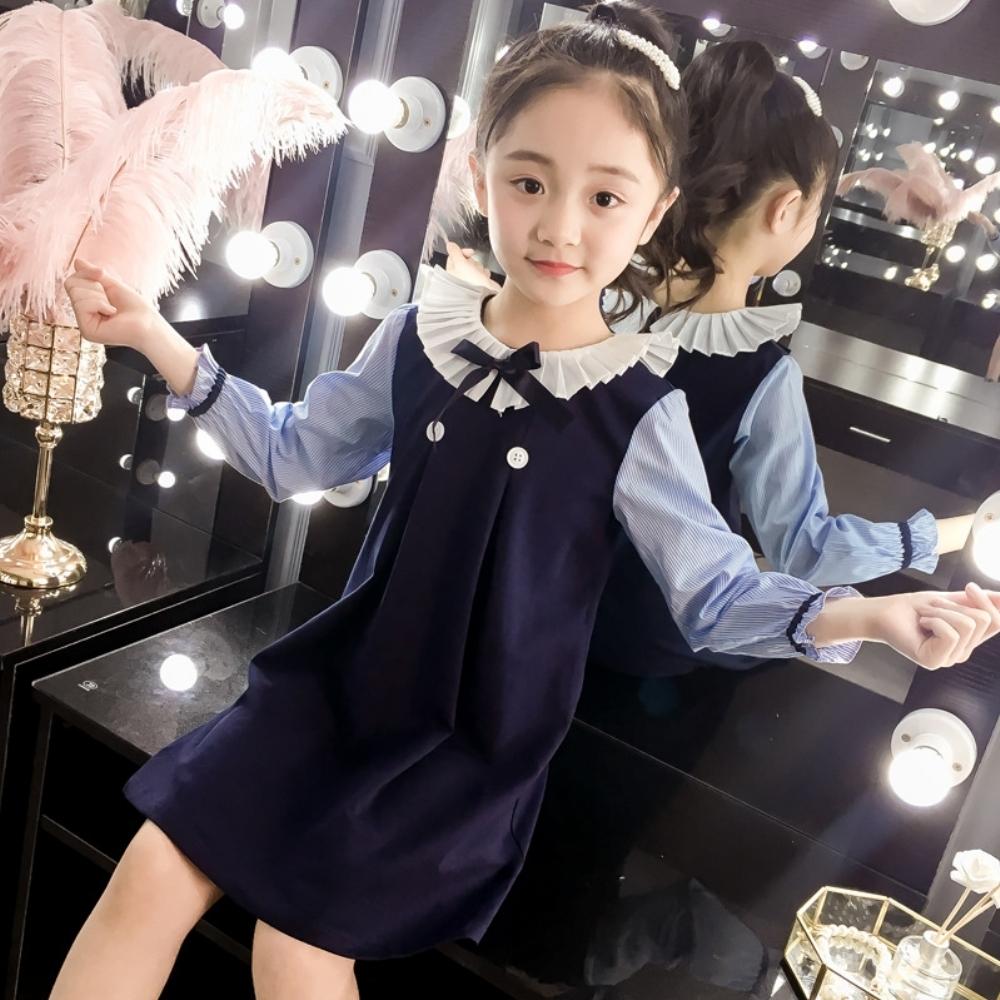 小衣衫童裝 中大童學院風百褶翻領長袖連身洋裝1080922