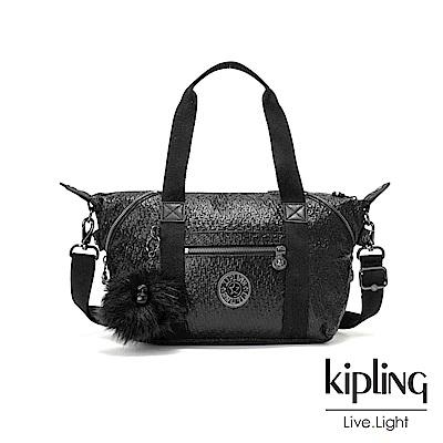 Kipling 搖滾高光亮黑壓紋手提側背包-ART MINI
