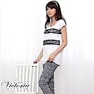 Victoria 中腰蕾絲提花窄管九分褲-女-黑