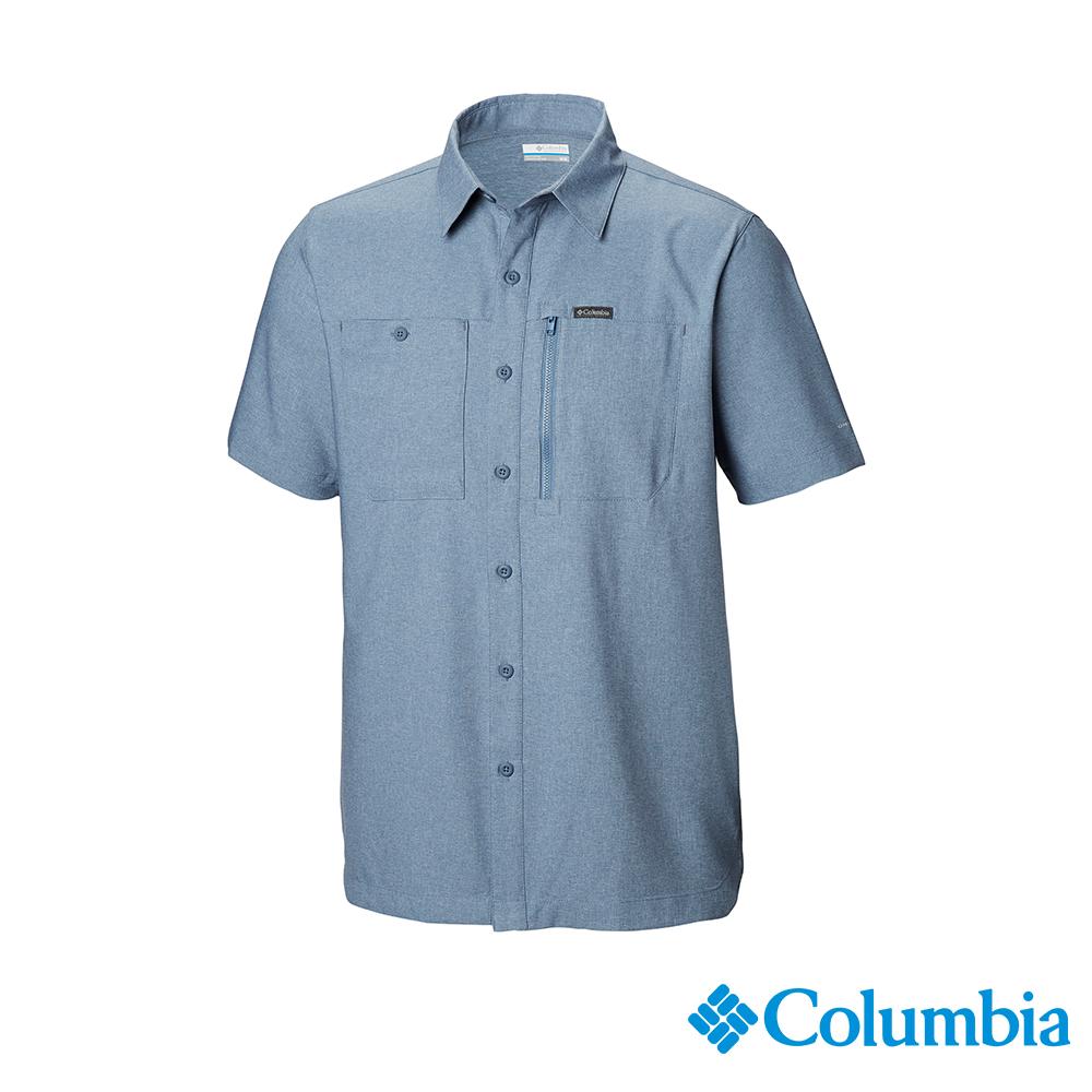 Columbia 哥倫比亞男款-UPF50快排短袖襯衫-墨藍 UAE06550IB