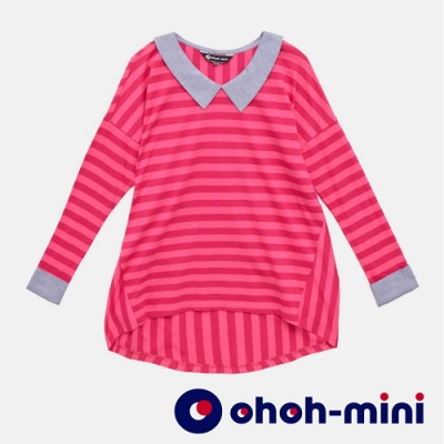 【ohoh-mini孕婦裝】V形翻領條紋孕婦上衣