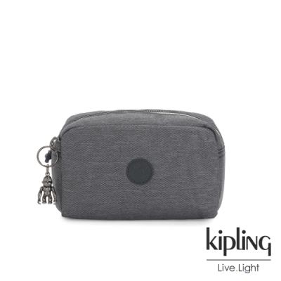 Kipling-沉穩丹寧灰長形化妝包-GLEAM