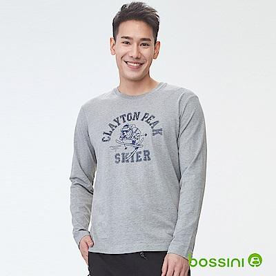 bossini男裝-印花長袖T恤10淺灰