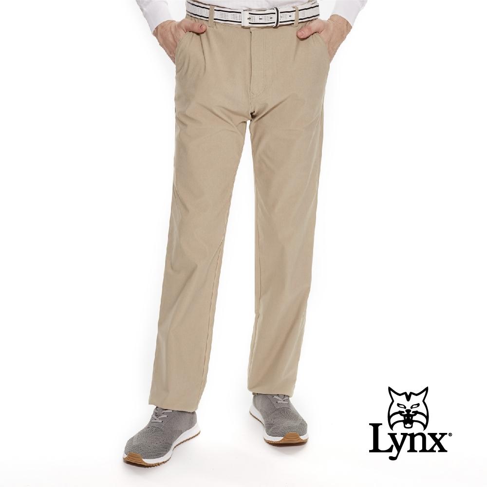 【Lynx Golf】男款日本進口布料LYCRA彈性素面平口休閒長褲-卡其色