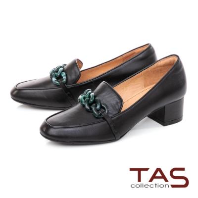 TAS雙色鍊條飾釦低跟鞋-百搭黑