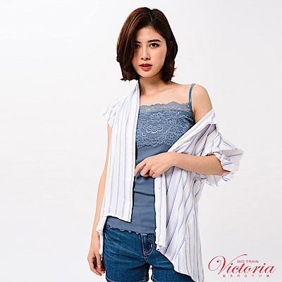 Victoria 蕾絲剪接細肩帶背心-女-灰藍