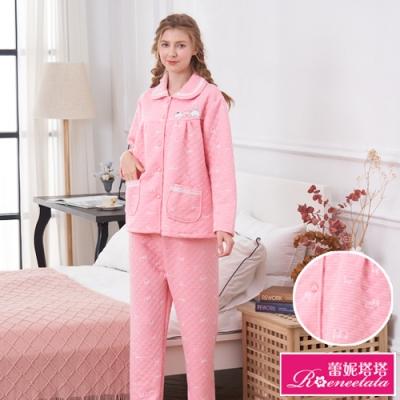 睡衣 可愛動物 保暖厚夾棉長袖兩件式睡衣(R97231-15粉) 蕾妮塔塔