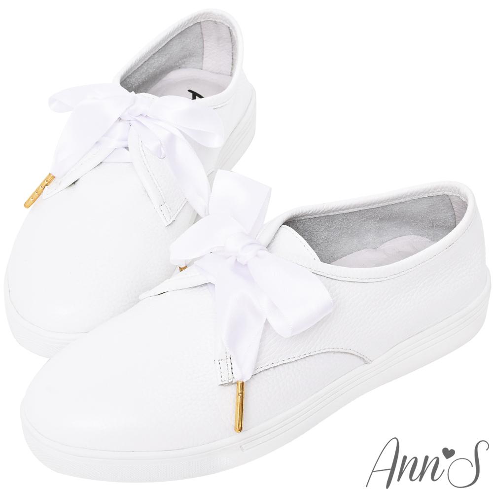 Ann'S第二代超軟真牛皮小清新附緞帶小白鞋
