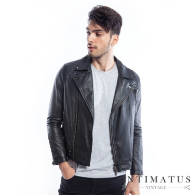 INTIMATUS 經典菱格縫線拼接造型真皮外套 (經典黑) IM2103