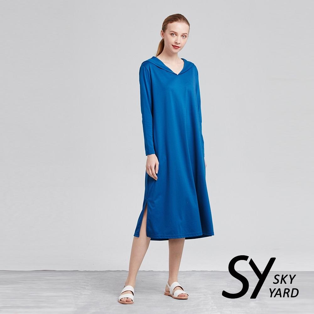 【SKY YARD 天空花園】悠閒長袖披肩領長版洋裝-藍色