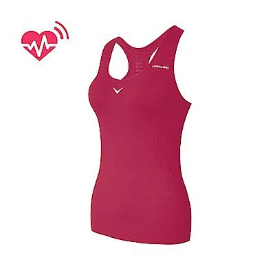 【CABALLERO】女款心跳感測長版運動背心 桃紅