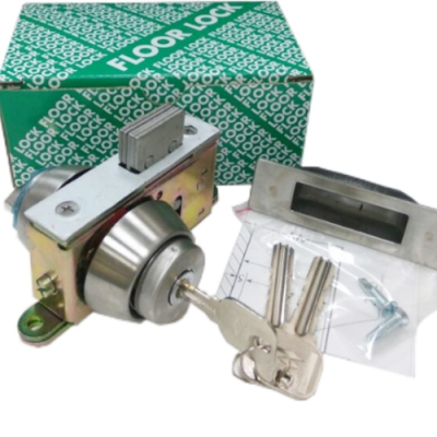 LS-308隱藏式地鎖單頭大圈適用門厚3-4CM自動門地鎖暗閂鎖單面鎖白鐵