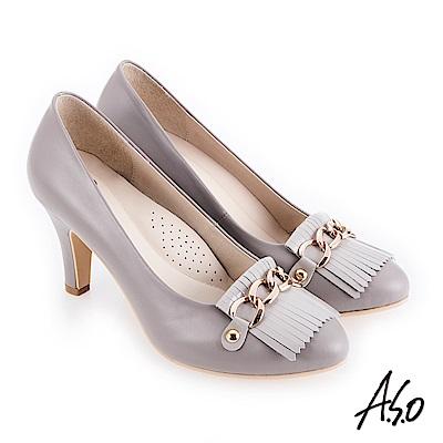 A.S.O 個性都會 鏡面牛皮流蘇拼接高跟鞋 灰