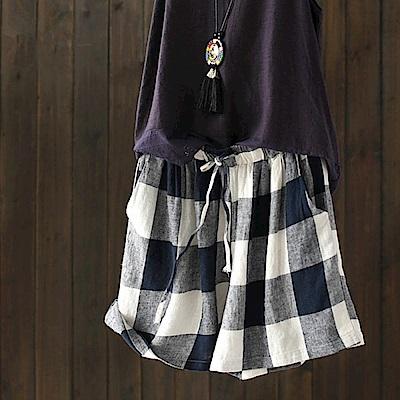 棉麻亞麻格子短褲顯瘦寬管休閒-K1686-設計所在