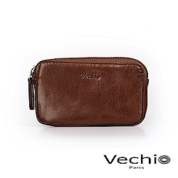 VECHIO - 經典商務男仕系列-多功能拉鍊零錢包 - 褐