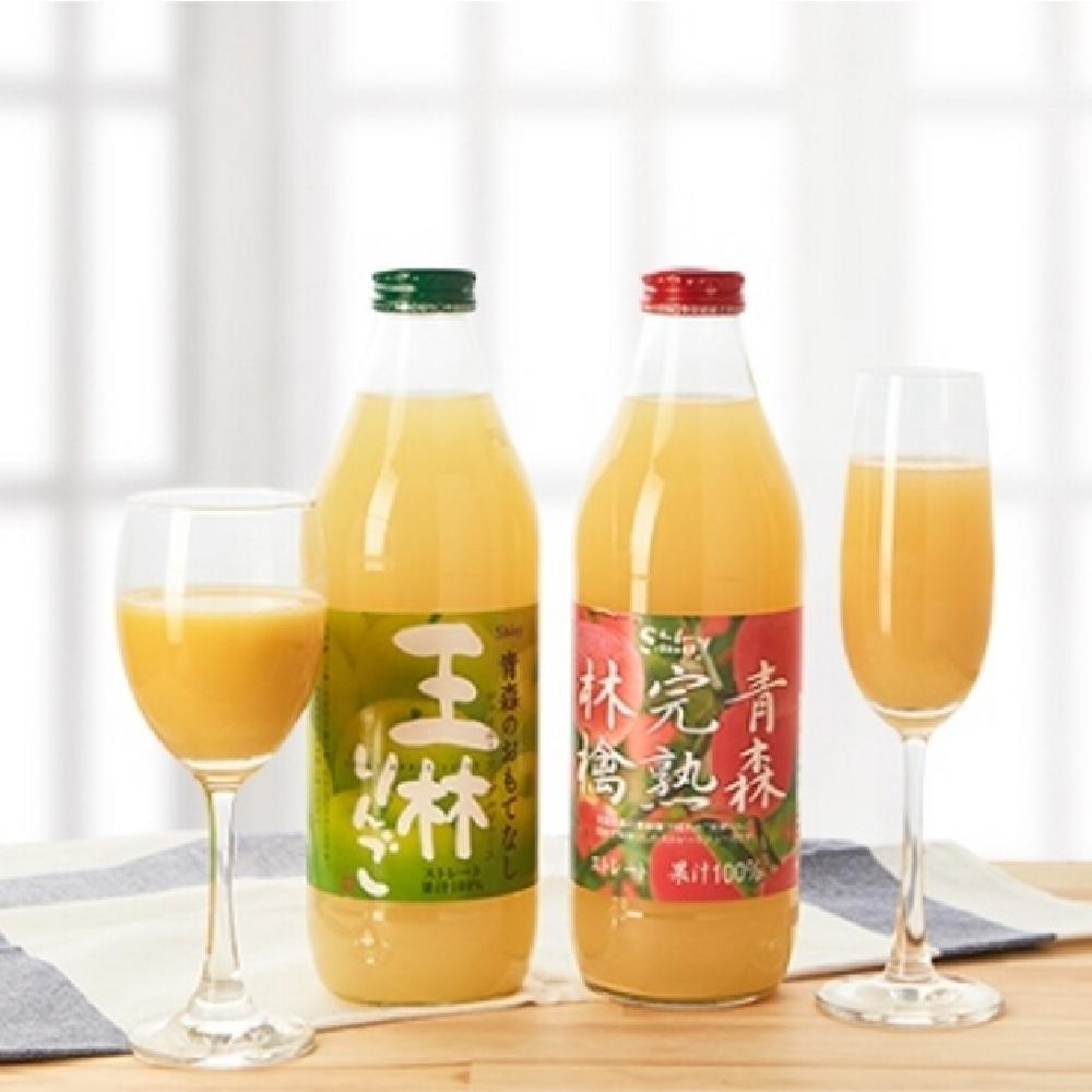日本進口 Shiny青森蘋果汁禮盒2瓶(青森完熟蘋果汁+王林蘋果汁)(CAT)(春節禮盒)