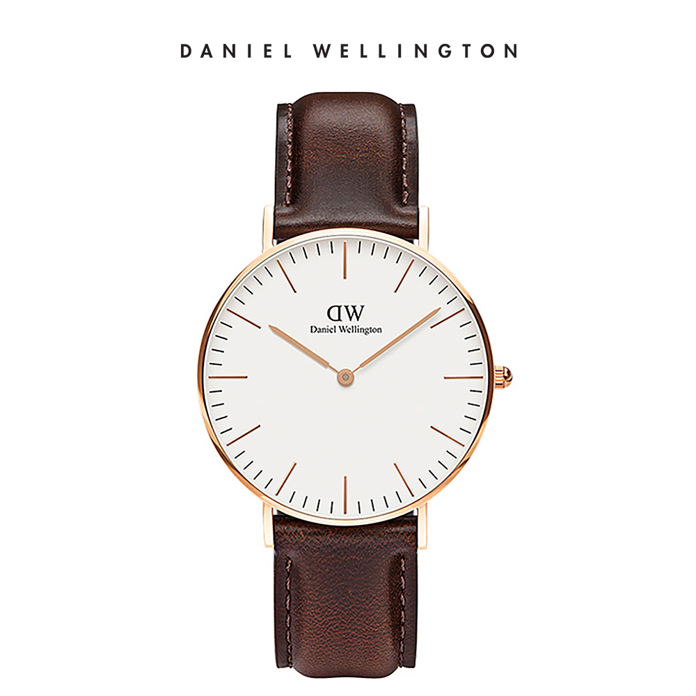 DW 手錶 官方旗艦店 36mm玫瑰金框 Classic 深棕真皮皮革錶