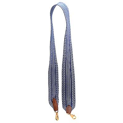 HERMES 經典Sangle Cavale系列寬版帆布拼色織帶背帶(50mm-藍X白)