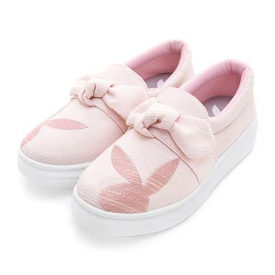 PLAYBOY可愛甜心 蝴蝶結銀蔥厚底休閒鞋-粉