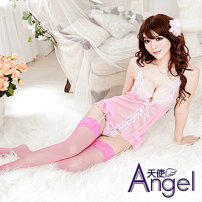 Angel天使 情趣透明薄紗荷葉邊帶吊襪+蕾絲內褲+襪子 BP099