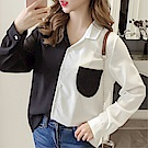 DABI 韓國風氣質撞色寬松襯衣襯衫長袖上衣