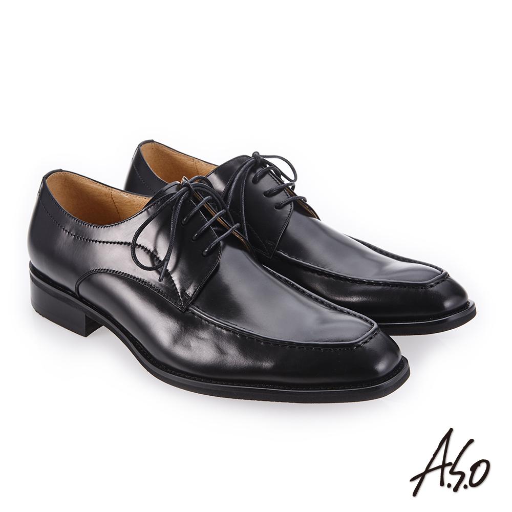 A.S.O 3D超動能 高亮澤度紳士鞋 黑