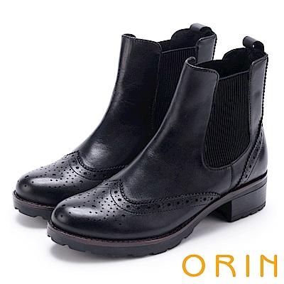 ORIN 經典復古 牛皮雕花彈力鬆緊中跟短靴-黑色